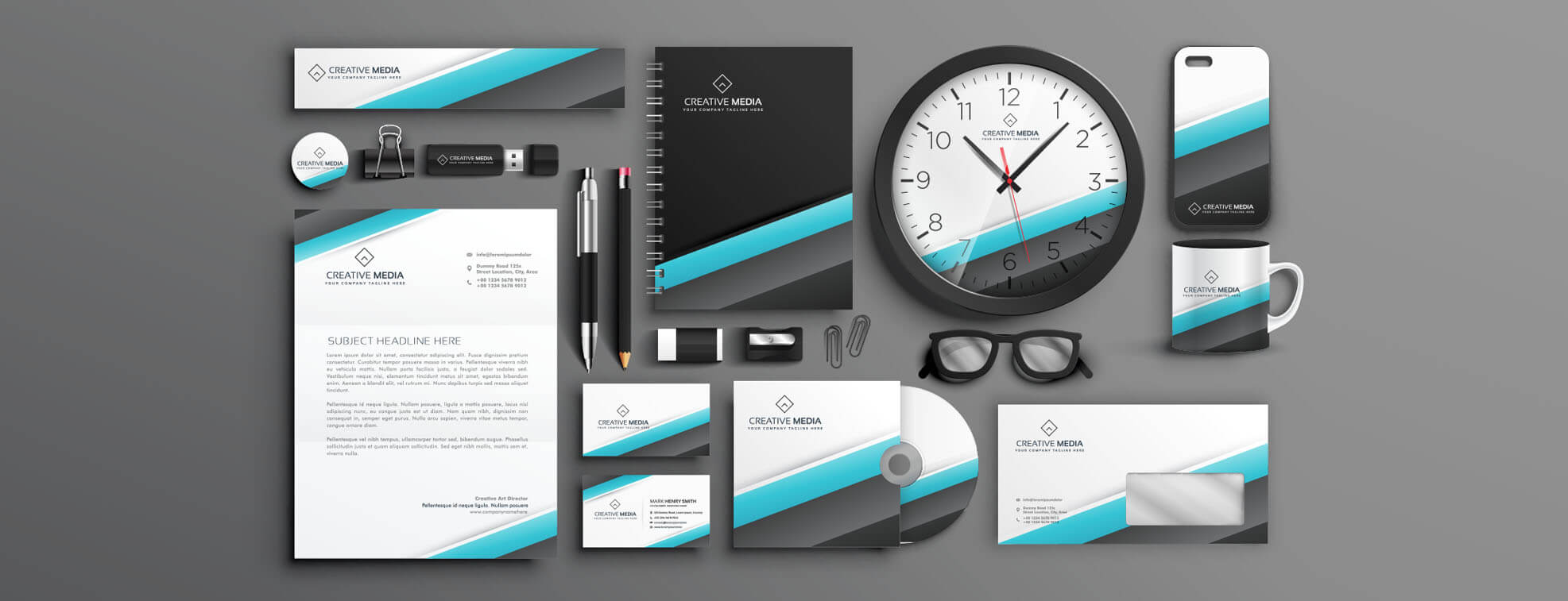 brand identity items in commercial printing