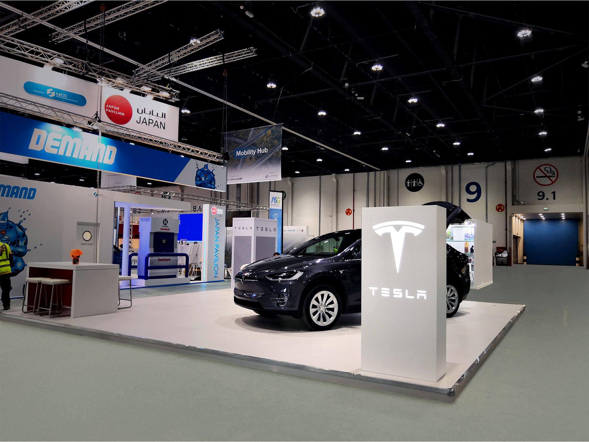 Tesla trade show booth designs