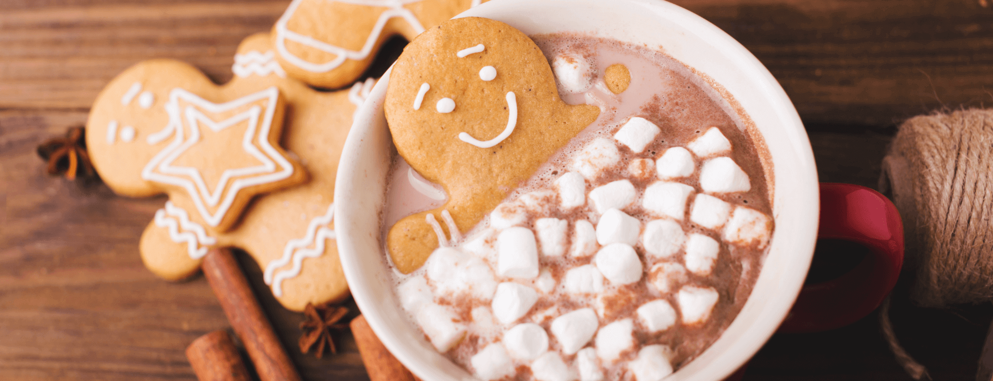 Cookies dipped in hot chocolate on the table