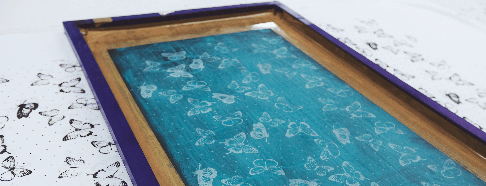 Butterfly pattern on a screen used for textile printing