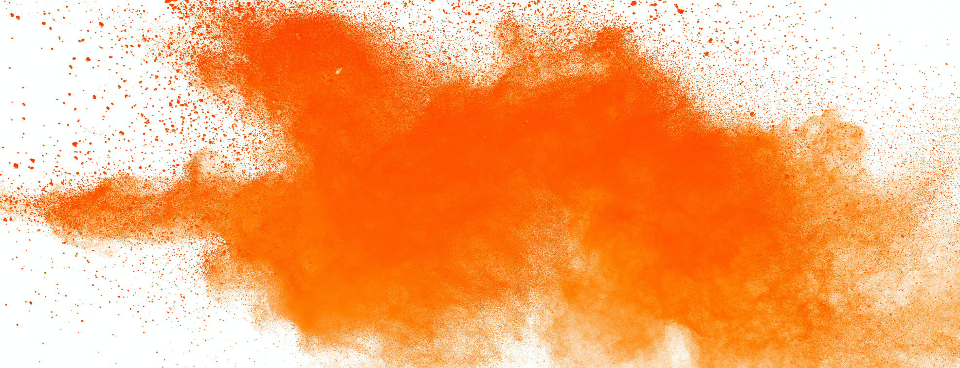 Orange paint on a white board