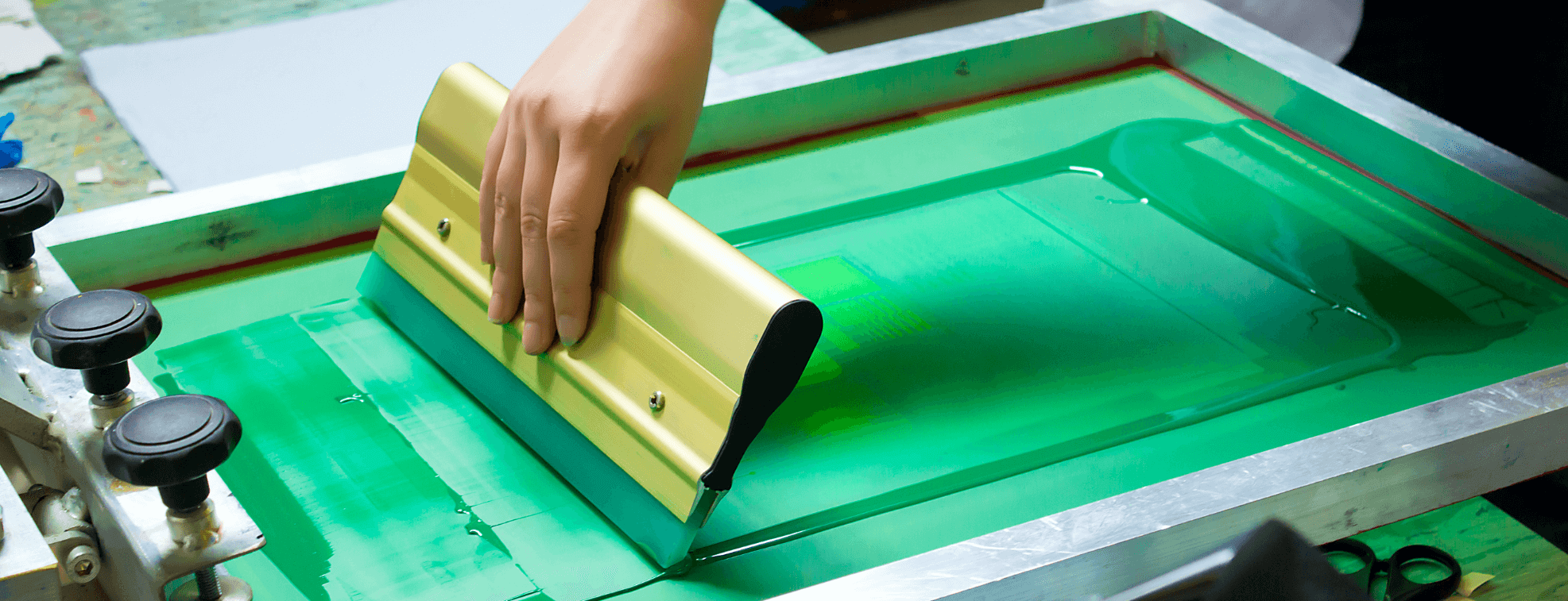 Green color screen printing